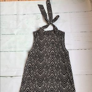 Hi low black and white dress